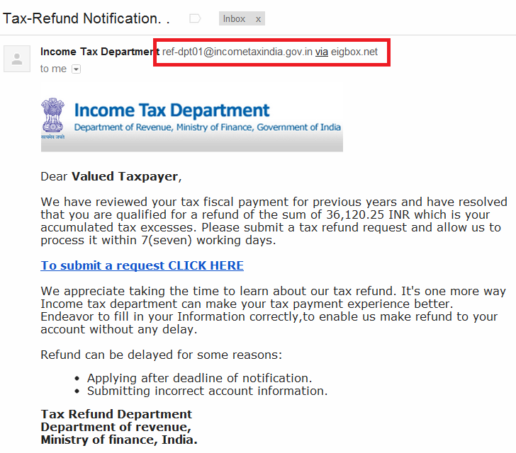 Income Tax Refund Fraud - Email Details